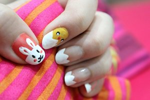 Nails of the week - welcoming easter day with eggs, chick and a bunny