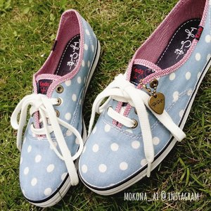 Taylor Swift for Keds in blue polkadots
